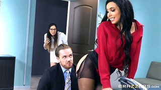 Boss gives his hot secretary anal punishment in office