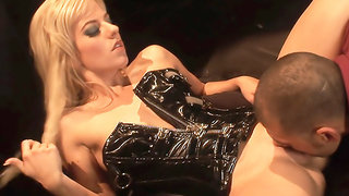 Blonde whore Angela Stone takes her corset off to get her pussy drilled.