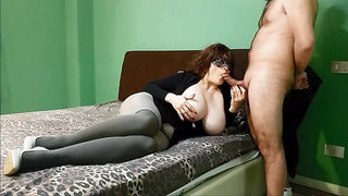 Mature mom with massive natural jugs and big ass enoys cock in hotel room
