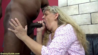 Obese 74 years senior grandma likes her first-ever harsh bi-racial yam-sized pink cigar nailing