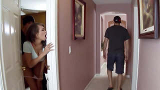 Busty Latina hottie cheats on dumb BF with perverted thief