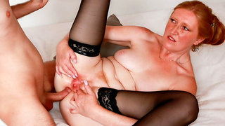 Young boy gapes pussy and anally fucks a wet horny granny