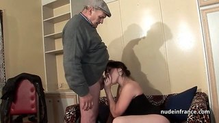Amateur squirt brunette hard DP in foursome with Papy Voyeur