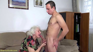 Chubby unshaved old grandma aggressive pounded