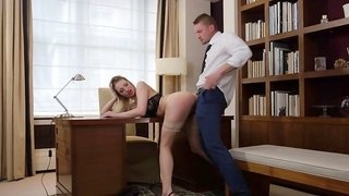 Seductive blonde got fucked in the library