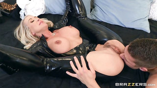50 y.o. mature woman in latex catsuit getting fucked hard by a young man