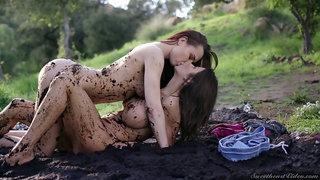 All in mud bitch Alexis Fawx enjoys horny lesbian outdoor sex