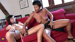Teeny nymph getting wet with a mature lesbian