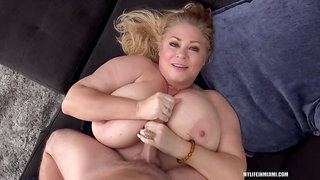 Busty Blonde Plumper, Samantha Is Getting Fucked Hard On The Sofa And Enjoying It A Lot
