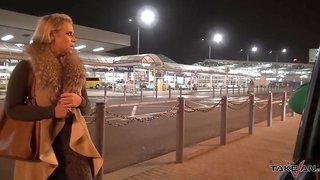 Takevan - Busty blonde caught on airport and fucked in van