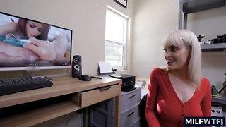 MILF caught him watching porn