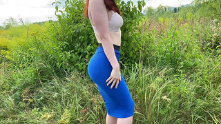 Girl in a skirt loves sex in nature after a blowjob, KleoModel