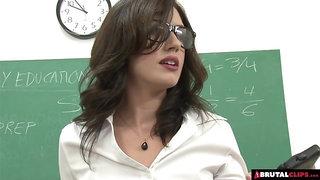 Brutal gangbang for teacher in classroom