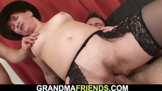 2 boozed men pound unshaved ginger-haired grandmother