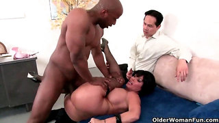 Cuckold hubby watches his wife getting fucked by a huge cock
