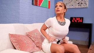 Beauty with pretty big melons Alessandra Jane impaled in the doggy style