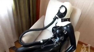 Latex breathplay - nun suffocates in a rebreather