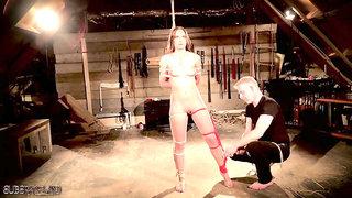 Hard bdsm fuck and facial cumshot for bondage young slave