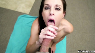 Sweet MILF kneels to swallow after a deep POV BJ