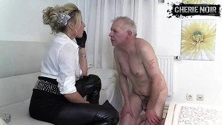 Face slapping spitting female dominatrix