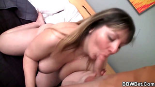 Big-Boobed bbw has hooked up with a much junior stud, just to get poked rock hard
