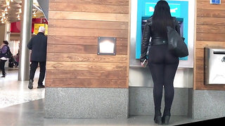 Big ass Arab girl walking on the street