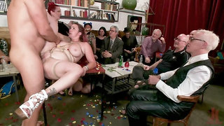 Chubby whore properly banged in front of happy onlookers