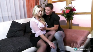 Golden BBW in a black corset Katrin likes his young dick