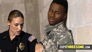 Horny milf cops gang up on fake soldier to make him bang them