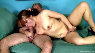 Amateur redhead with sexy tits, insane home porn on hubby's dong