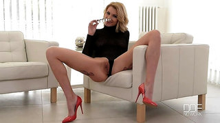 Ukrainian Ultra Babe Crams Shaved Pussy with Glass Dildo