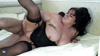 British big breasted BBW goes wild