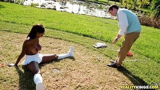 Busty hot black girl in sexy fluffy skirt Brandi gets fucked on golf field