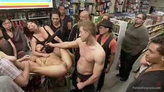 Sweet Asian slut fucked and humiliated in a corner store