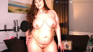 brunette BBW Jenna shows her curvy body with a perfect fat belly and a big booty solo