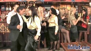 Hot orgy session in the bar