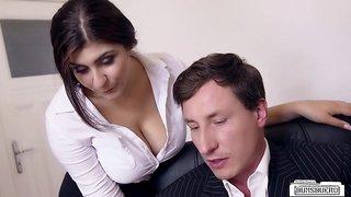Boss fucks busty German secretary and cums on her big tits