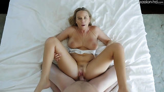 Aroused blonde, Alexis Adams is holding her legs spread wide and getting fucked better than ever