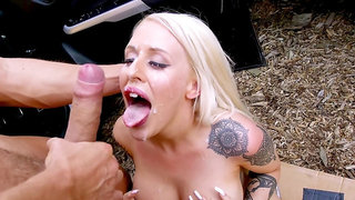 Blonde MILF with huge tits, insane sex by the side of the road