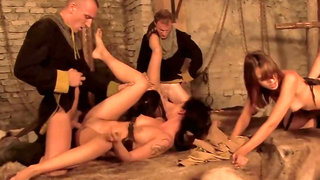 There is a full-blown orgy going on in this medieval room