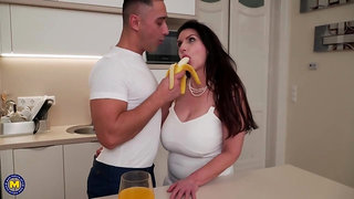 Josephine James is fucking her good friend in the kitchen, while his girlfriend is at work
