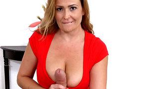 Busty stepmom Elexis Monroe sucks and strokes her stepson's dick