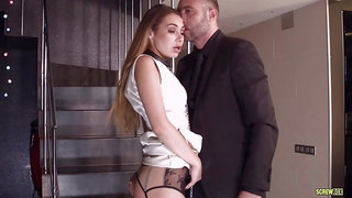 Stacy Snake was wearing black garter belt while she was getting fucked from the back