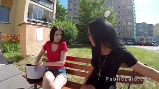 Brunette gets huge cock from public agent