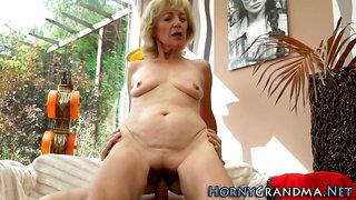 Thin blondie grannie with diminutive hooters