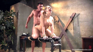 Blonde Submits to getting Fucked in all her Holes while Bound