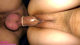 Very exciting and creamy pussy from condom penetration