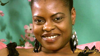 Chubby ebony mommy Necie gives a naked interview.