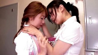 Girls in sexy colored stockings have hot Japanese lesbian sex