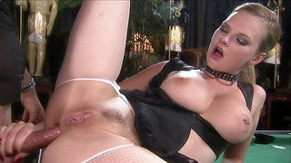 Blonde bombshell in fishnets Tarra White ass fucked on Pooltable - anal sex with cumshot